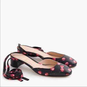 New! J Crew Cherry Print Tie Heels
